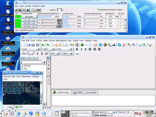 (screenshot of quantian_0.4.9.2: openmosixview, kile, knoppix 3.3