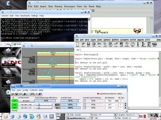 (screenshot of quantian_0.3: openMosix, R with lattice graphisc from XEmacs, QuantLib, TeXmacs